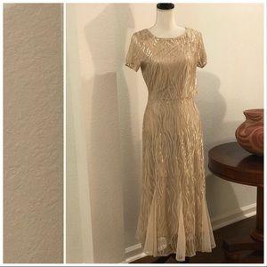 Reba Gold Sequin Prairie Dress